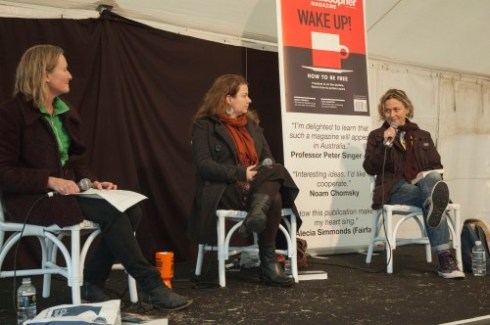 Jessie Cole (centre) and; Inga Simpson (right) discuss the second novels. Photo: Cath Piltz