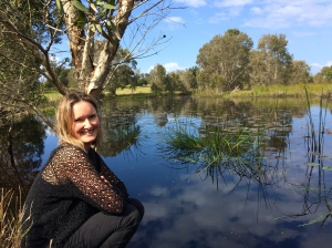 Author Lisa Walker at one of the Elements of Byron sites for A Wandering Tale